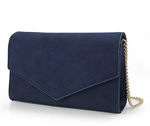 Minimalist Evening Envelope Clutch Chain Shoulder Bag Women Faux Leather Suede Purse (Navy)