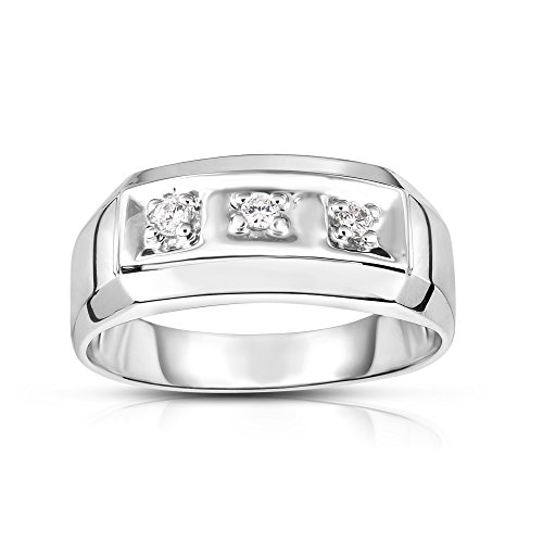 Noray Designs 14K White Gold Diamond (0.12 Ct, I1-I2 Clarity, G-H Color) Men's 3-Stone Ring by Noray Designs