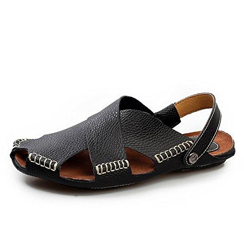 Zapatos Ocasionales de Black de y Ocio pie Playa Deportes Zapatos de adecuados para del de del Sandalias Interior Cómodos Hombres Cuero Exterior Dedo de Zapatos Senderismo los IFwq7tfxf
