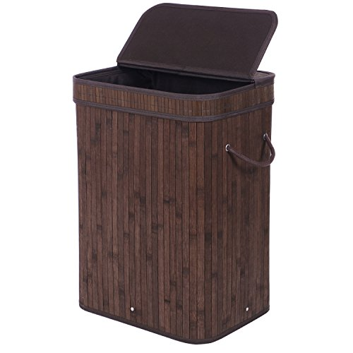 BEWISHOME Bamboo Laundry Basket,Laundry hampers with lids, Foldable Dirty Clothes Storage Bin with Double Handles Removable Liner,Rectangular Brown YYL02Z by BEWISHOME