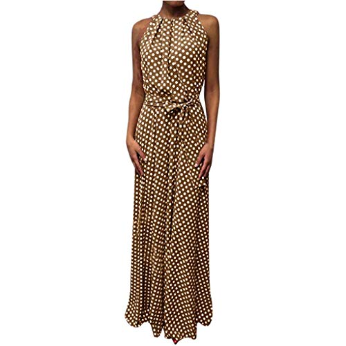 TIANMI Women Casual Summer Dot Printed Sleeveless Beach Dress Sundress(Khaki,S)