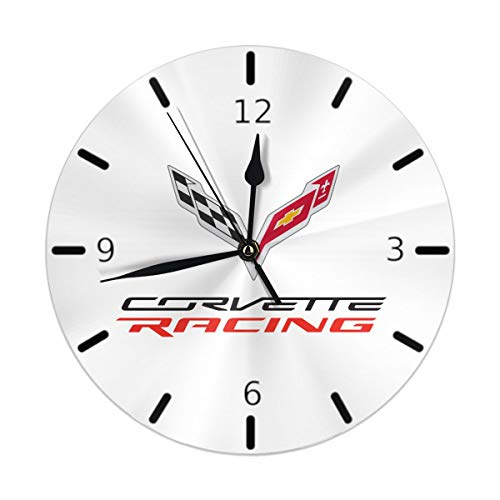 Flypo-yoc Corvette Apparel Racing Logo Modern Simple Wall Clock Indoor Non-Ticking Silent Sweep Movement Wall Clock for Office Bathroom Livingroom Decorative 10 Inch