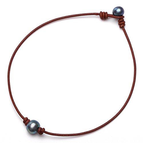 Leather 16' Necklace Natural (Aobei One Dyed Black Freshwater Cultured Pearl Choker Leather Necklace on Genuine Leather Cord Handmade Jewelry for Women 16'' Tan)