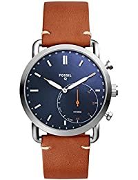 Men's Commuter Stainless Steel and Leather Hybrid Smartwatch, Color: Silver, Brown (Model: FTW1151)