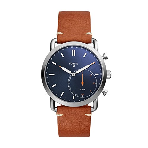 Fossil Hybrid Smartwatch - Q Commuter Dark Brown Leather - Mens Brown Strap Fossil