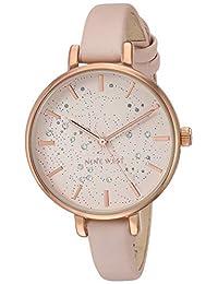 Nine West NW/2210RGPK Reloj de pulsera para mujer, con cristales acentuados, tono oro rosa y correa rosa