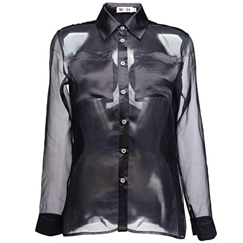 fdb31449 Amazon.com: Silk Organza Shirt In Black Button Down Blouse for Women Long  Sleeved Shirt: Handmade
