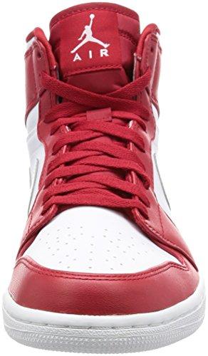 Nike Air Jordan 1 Retro High, Zapatillas de Baloncesto para Hombre Rojo (Gym Red / Metallic Silver-White)