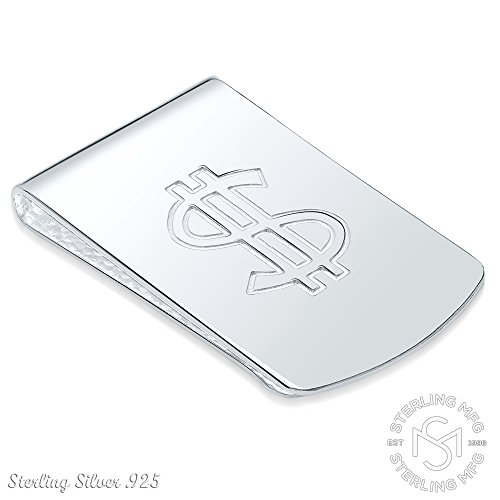 Sterling Silver .925 Dollar Sign Money Clip. Designed and Made In Italy. By Sterling Manufacturers by Sterling Manufacturers (Image #1)