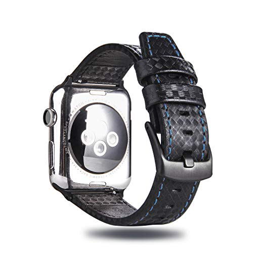 MeShow TCSHOW 44mm 42mm Genuine Leather Carbon Fiber Embossed Pattern with Blue Stitching Strap Wrist Band with Secure Metal Clasp Buckle Compatible for Apple Watch Series 4(44mm)/Series 3/2/1(42mm)