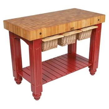 Amazon.com: American Heritage Kitchen Island with Butcher Block Top Base Finish: Barn Red ...