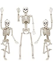 """Skeleton Halloween Decoration, 3 Packs 16"""" Posable Halloween Skeletons, Full Body Posable Joints Skeletons for Halloween Decor, Graveyard Decorations, Haunted House Accessories"""