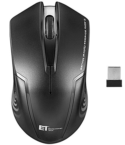 Running Fish ET Ergonomic 2.4GHz 3 adjustable DPI Wireless Mouse Portable Mice Gaming Mouse with USB Receiver, Cordless 3 Button Mouse for Notebook, PC, Laptop, Computer, Macbook-Black