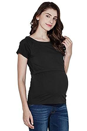 Sweet Mommy Maternity and Nursing Short Sleeve Tee Black, S