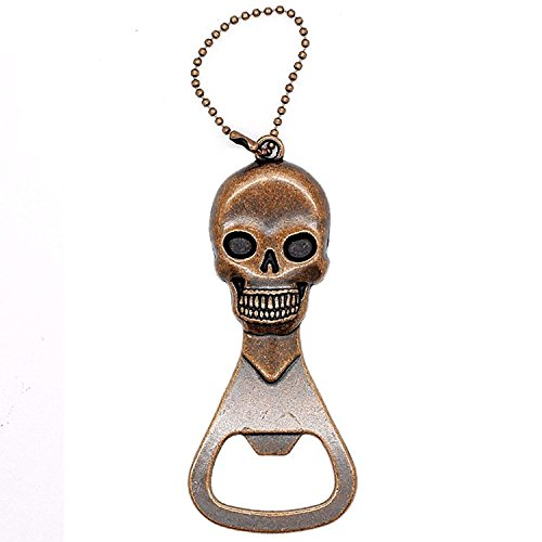 Winchar Retro Copper Skull Head Bottle Opener, Beer Bottle Opener Keychain Skeleton Opener for Kitchen Bar Restaurant, Halloween Christmas Gift (Vintage -