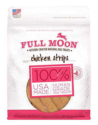 - Full Moon All Natural Human Grade Dog Treats, Chicken Strips, 24 Ounce