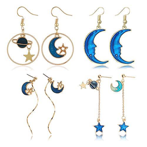 (D.Rosse Enamel Moon Star Earth Planet Drop Hook Earrings Long Pendant Dangle Jewelry for Woman Girls (2 - Planet Moon Earring))