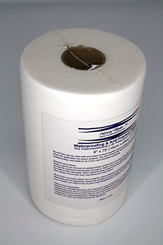 Nova-Fiber Rollo de 15 cm x 23 m, impermeable, cinta de malla antifricción para membranas líquidas impermeables, 75'