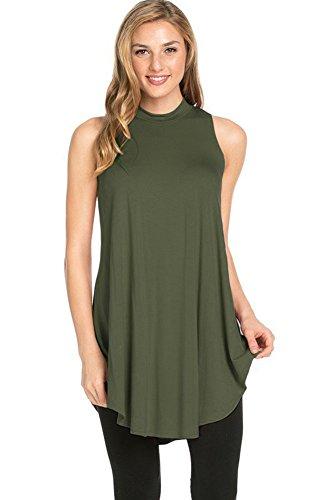 (12 Ami Basic Solid Long Flowy Tank T-Shirt Tunic Olive Green XL)
