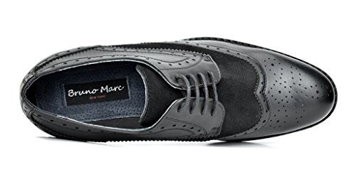 Bruno Marc Men's Prince-09 Black Leather Lined Wing-Tip Dress Oxfords Shoes – 12 M US