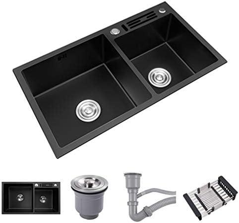 黒いステンレス鋼の台所の流し, ダブルボウル、 長方形、 トップマウント、 ナノブラッシュ オーバーフローおよび排水継手付き、 72 cm / 75 cm