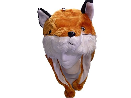 [Fox Plush Hat - Fits Kids and Adults - With Long Plush Pom Pom Ties] (Fox Hat Costume)