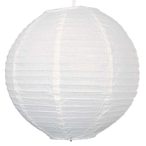 12pcs 12-inch Round Paper Lanterns with Wire Ribbing - 4