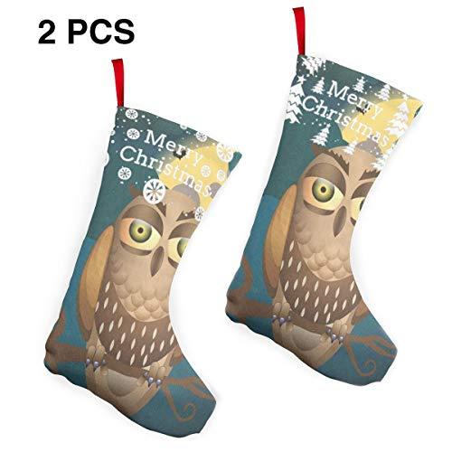 (HU MOVR Christmas Stockings Cute Halloween with Full Moon Bats and Owl Customized Socks 2)