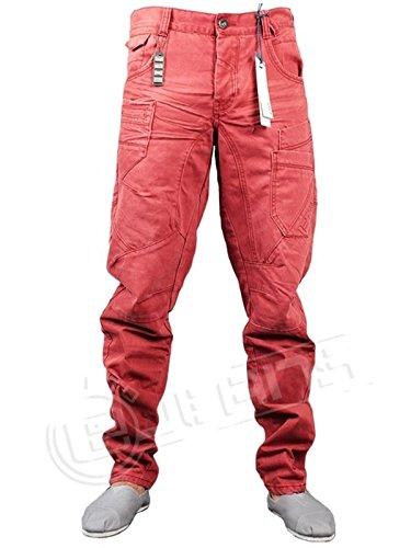 Eto Jeans 9901 EM383 rot Twisted Chino Hose Leg Designer-Denim Smart und leger