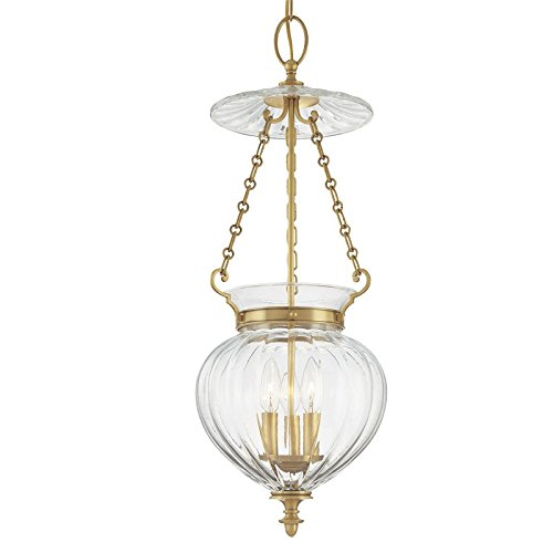 Gardner 3-Light Pendant - Aged Brass Finish with Clear Glass Shade