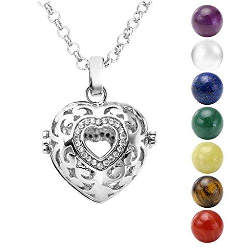 Amethyst Heart Locket (JOVIVI Silver Hollow Heart Locket Pendant With Natural 7 Chakras 16mm Ball Stones Reiki Healing Energy Beads 28