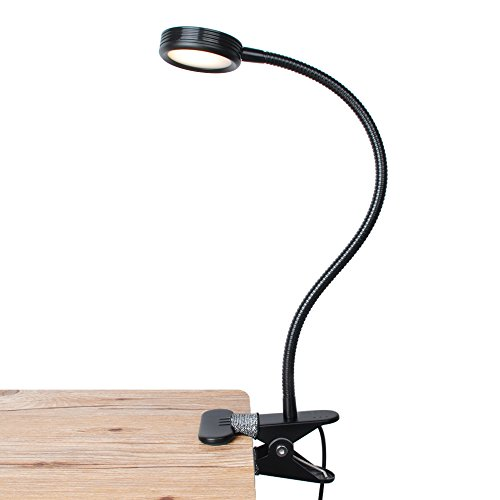 LEPOWER Clip on Light / Reading Light/ Light Color Changeable/ Night Light Clip on for Desk, Bed Headboard and Computers (Black)