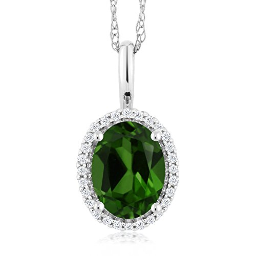 - Gem Stone King 10K White Gold 1.20 Ct Oval Chrome Diopside and Diamonds Pendant With Chain