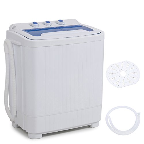 Della Mini Washing Machine Portable Compact Washer and Spin Dry Cycle with BUILT-IN PUMP, White (Washer Machine Dry)
