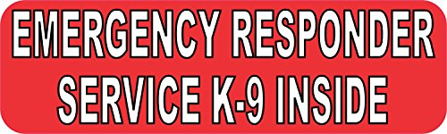 10in x 3in Emergency Responder Service K9 Inside Sticker Bumper Decal by StickerTalk (Emergency Services Decals)