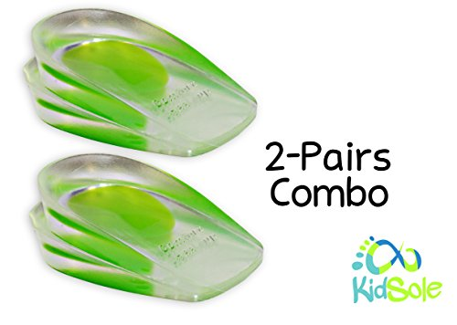 2 Pack - KidSole Shock Absorbing Lightweight Gel Heel Cups For Kid's With Sensitive Heels, Heel Spurs, Plantar Fasciitis, or Ankle Pain (Green Kids Size 2-6)