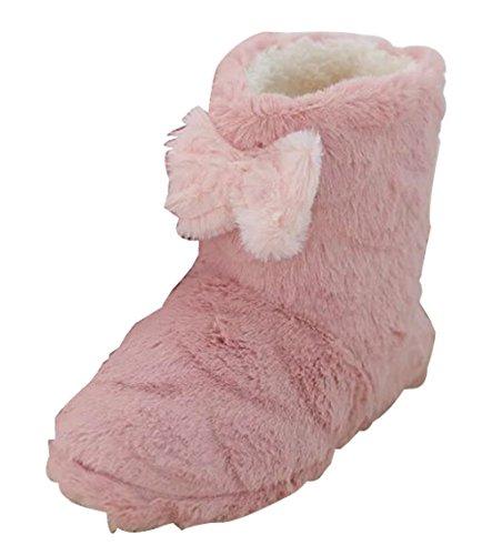 Cattior Dames Strikken Winter Warme Slipper Laarzen Huis Schoenen (7, Rood)