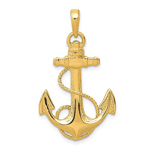 14k Yellow Gold Nautical Anchor Ship Wheel Mariners Rope Pendant Charm Necklace Sea Shore Man Fine Jewelry Gift For Dad Mens For Him