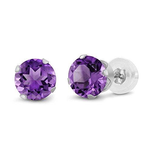 0.48 Ct Round 4mm Purple Amethyst 14K White Gold Stud Women's Earrings (Gold Earrings Amethyst White)