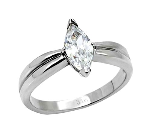 1ct Marquise Solitaire Engagement ring designer fashion Stainless (Designer Solitaire Ring)