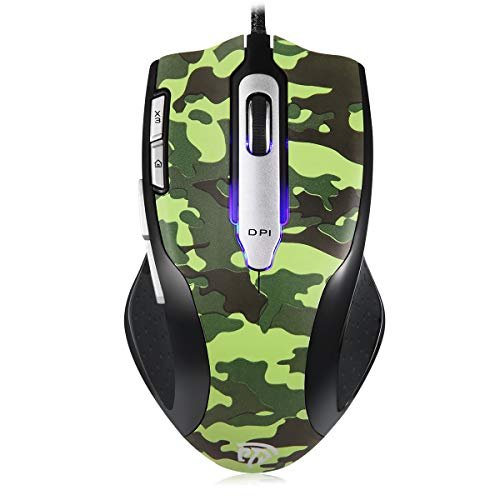 EasySMX Wired Laser Gaming Mouse, Sensor A9800 [8200DPI] [Adjustable Weight] [6 Programmable Buttons] Gaming Mouse, 1000 Polling Rate 8 Buttons for Gamers/Office Workers (Camouflage)