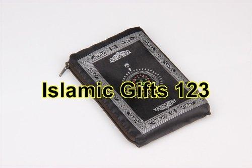 islamic prayer mat prayer mats prayer mats for muslims Travel Pocket Prayer Rug Mat Qibla Finder Compass Kaaba (Black) by USI Zipper pouch