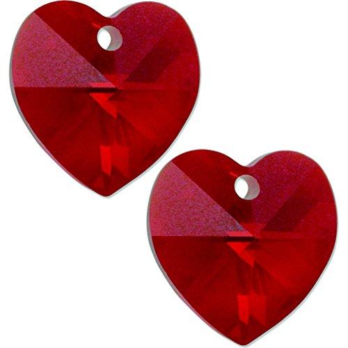 6202 Swarovski Heart Pendant Beads - 2 Siam Swarovski Crystal Heart Pendant 6202 14mm