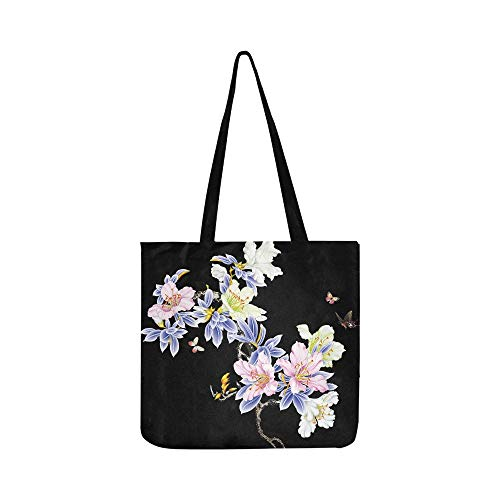 Lily Hand Painted Iris Canvas Tote Handbag Shoulder Bag Crossbody Bags Purses For Men And Women Shopping Tote