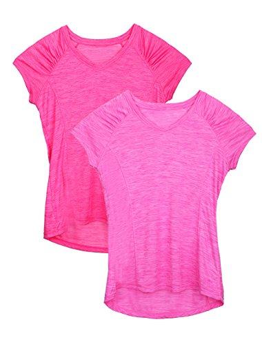 Dolcevida Women's Tops V Neck Short Sleeve Sport T Shirt (Pack of 2) (M, Light Pink&Pink)