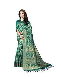 Indian Designer Multi Colored Banarasi Art Silk Weaving Saree With Free Blouse