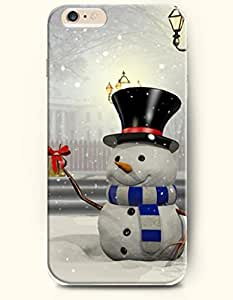 OFFIT iPhone 6 Plus Case 5.5 Inches a Warm Christmas Eve - Snonman Welcomes Coming and Going People