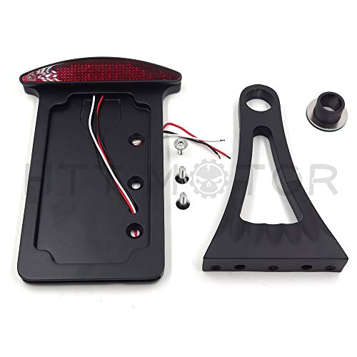 HTT Motorcycle Black Flat Side Mount License Plate Bracket w/ LED Tail Light Brake Light 7/8