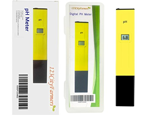 Hydroponic Nutrient pH Value Tester, Digital pH Meter with 2 Pack of Calibration Solution Mixture Included