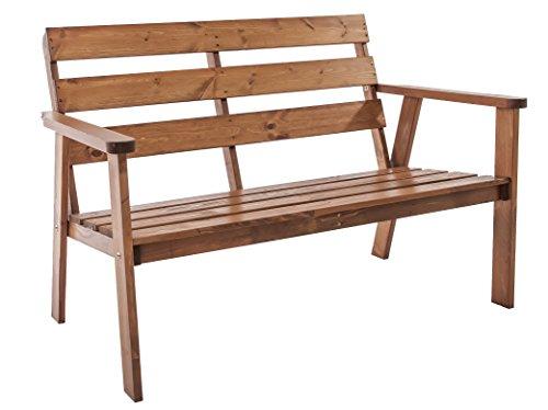Ambientehome, meuble de jardin,banc de jardin á 2 places, bois massif, couleur marron Hanko
